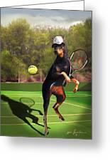 funny pet scene tennis playing Doberman Greeting Card
