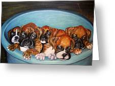 Funny Puppies Orginal Oil Painting Greeting Card