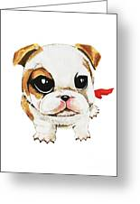Funny Puppy Hand Painted Watercolor  Greeting Card