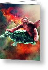 Funny Space Sloth Riding On Turtle Greeting Card
