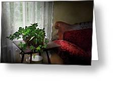 Furniture - Plant - Ivy In A Window  Greeting Card by Mike Savad