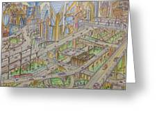 Future City After 50 Years Greeting Card