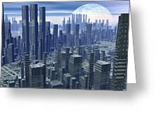 Futuristic City - 3d Render Greeting Card