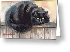 Fuzzy Black Cat Greeting Card