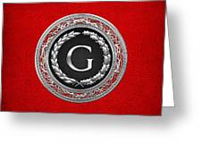 G - Silver Vintage Monogram On Red Leather Greeting Card