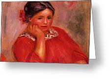 Gabrielle In A Red Blouse 1896 Greeting Card