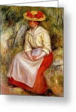 Gabrielle In A Straw Hat 1900 Greeting Card