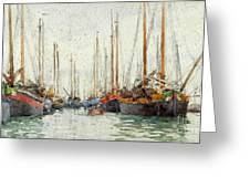 Gaily Coloured Fishing Vessels Greeting Card