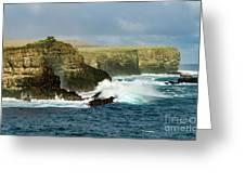 Cliffs At Suarez Point, Espanola Island Of The Galapagos Islands Greeting Card