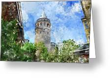 Galata Tower In Istanbul Tukey Greeting Card