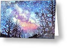 Galaxy Spring Night Watercolor Greeting Card