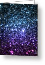 Galaxy Stars Teal Violet Pink Greeting Card