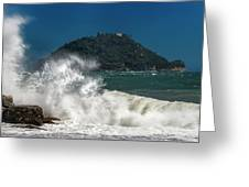 Gallinara Island Seastorm - Mareggiata All'isola Gallinara Greeting Card