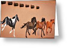 Galloping Horses Mural - Taos Greeting Card