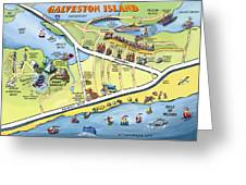Galveston Texas Cartoon Map Greeting Card