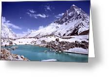 Gandharva Tal And Mount Shivaling Greeting Card