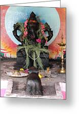 Ganesha With Pink Flowers, Valparai Greeting Card