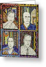 Gang Of Four Greeting Card by Robert SORENSEN