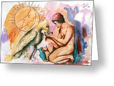 Ganymede And Zeus Greeting Card by Rene Capone