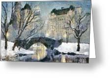 Gapstow Bridge In Snow Greeting Card