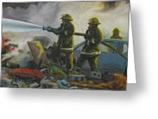 Garage Fire Greeting Card