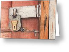 Garage Lock Number Four Greeting Card