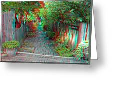 Garden Alley - Use Red-cyan 3d Glasses Greeting Card