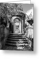 Garden Arches Of Vizcaya - Black And White Greeting Card