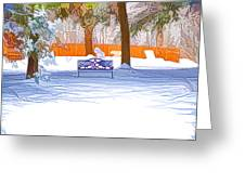 Garden  Bench With Snow Greeting Card