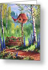 Garden Birdhouse Greeting Card