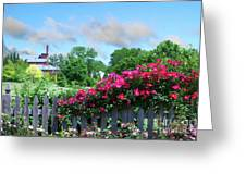 Garden Fence And Roses Greeting Card