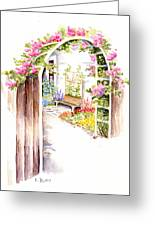 Garden Gate Botanical Landscape Greeting Card