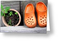 Garden Shoes Waiting Greeting Card