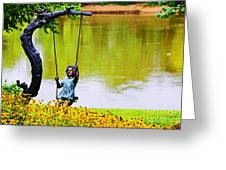 Garden Swing By The River Greeting Card