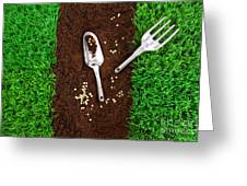 Garden Tools On Earth Greeting Card by Sandra Cunningham
