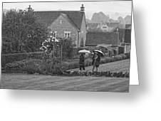 Garden Tour In The Rain Monotone Greeting Card