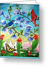 Garden View Birds And Butterfly Greeting Card