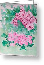 Garden With Pink Flowers Greeting Card