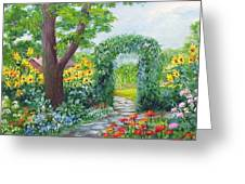Garden With Sunflowers Greeting Card