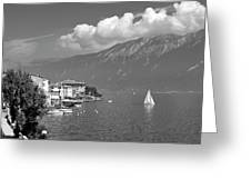 Gargnano On Lake Garda, Italy.    Black And White Greeting Card