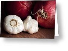 Garlic And Onions Greeting Card
