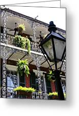 Gas Lamp And Balcony Greeting Card