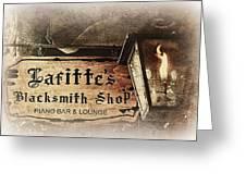 Gas Light At Lafitte's Blacksmith Shop Greeting Card