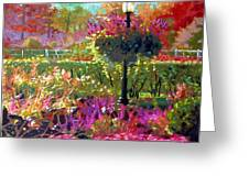 Gas Light In The Garden Greeting Card