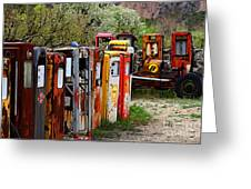 Gas Pump Conga Line In New Mexico Greeting Card