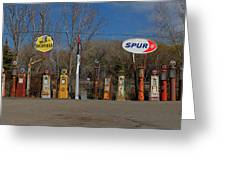 Gas Pumps And Gas Signs Panorama Greeting Card