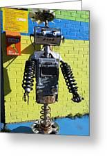 Gas Station Robot Greeting Card