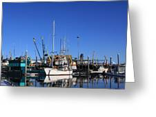 Glassy Harbor Reflection Greeting Card