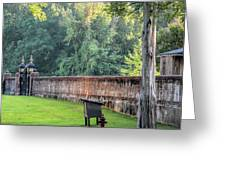 Gate And Brick Wall At Shiloh Cemetery Greeting Card