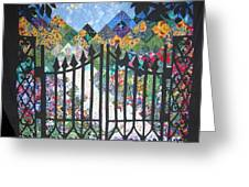 Gate Into The Garden Greeting Card